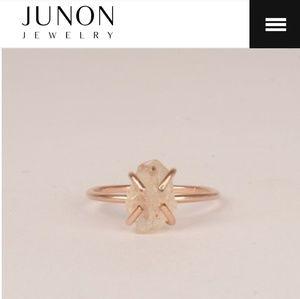 14K rose gold-filled raw sunstone ring- size 7